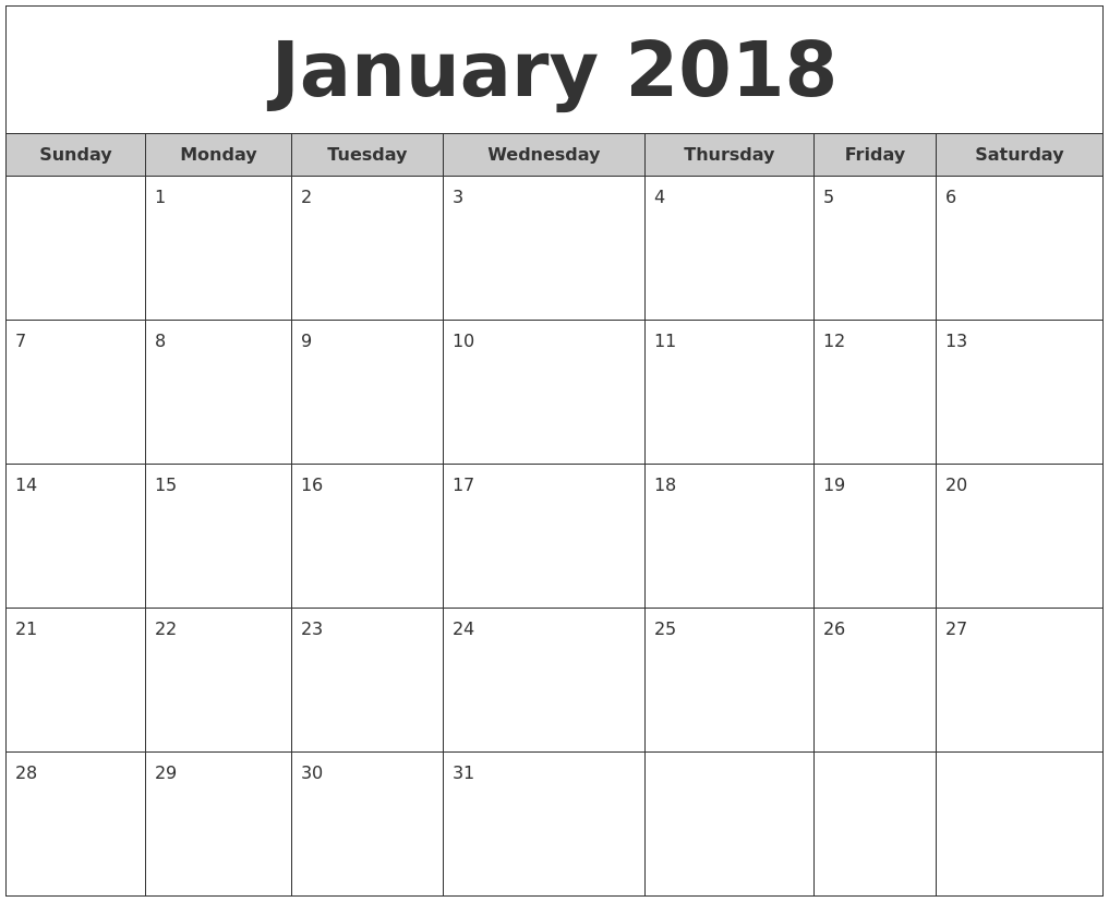 2018 Free Monthly Calendar