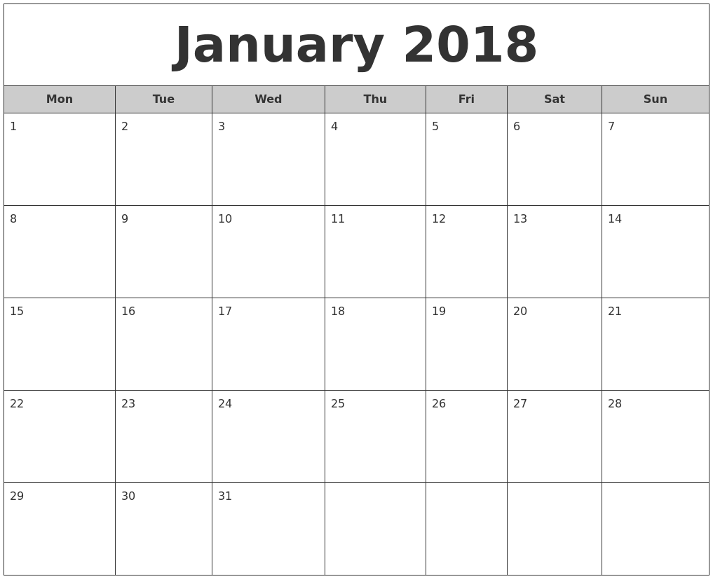 January 2018 Free Monthly Calendar PDF's