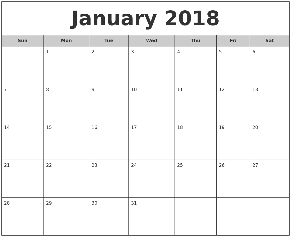 January 2018 Free Monthly Calendar