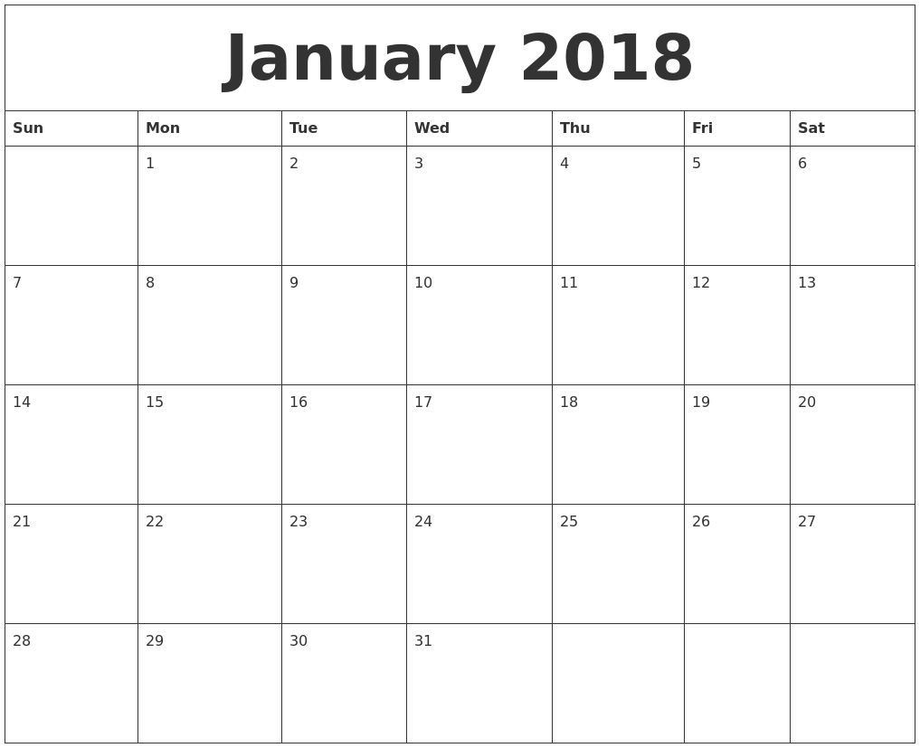 January 2018 Free Online Calendar