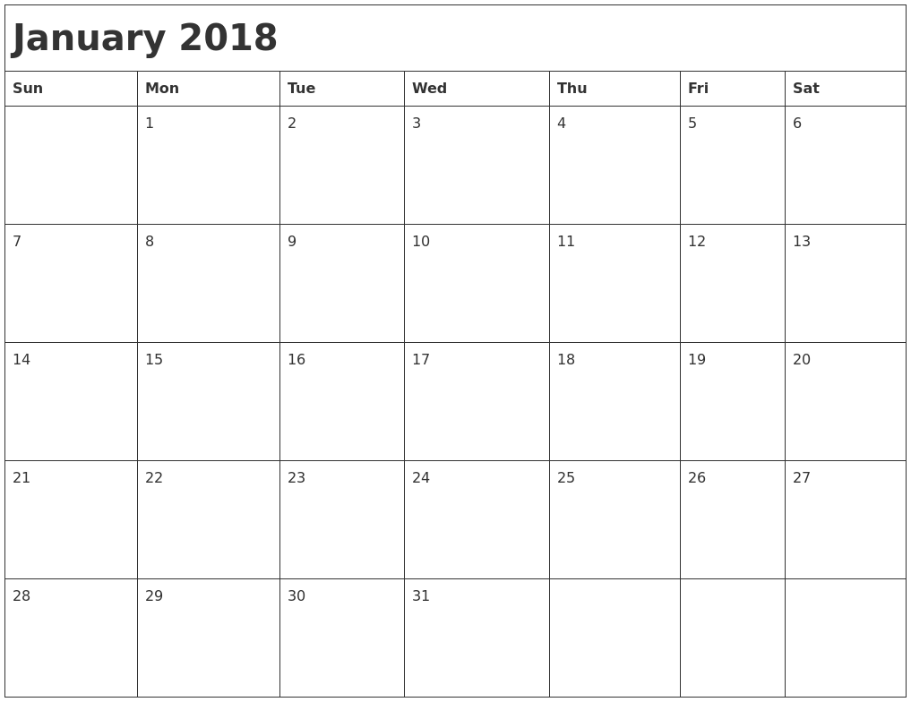 Calendar 2018 January Month | Printable Editable Blank