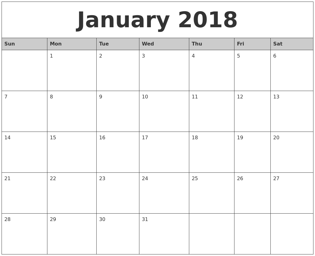 Blank Calendar January Printable : January monthly calendar printable