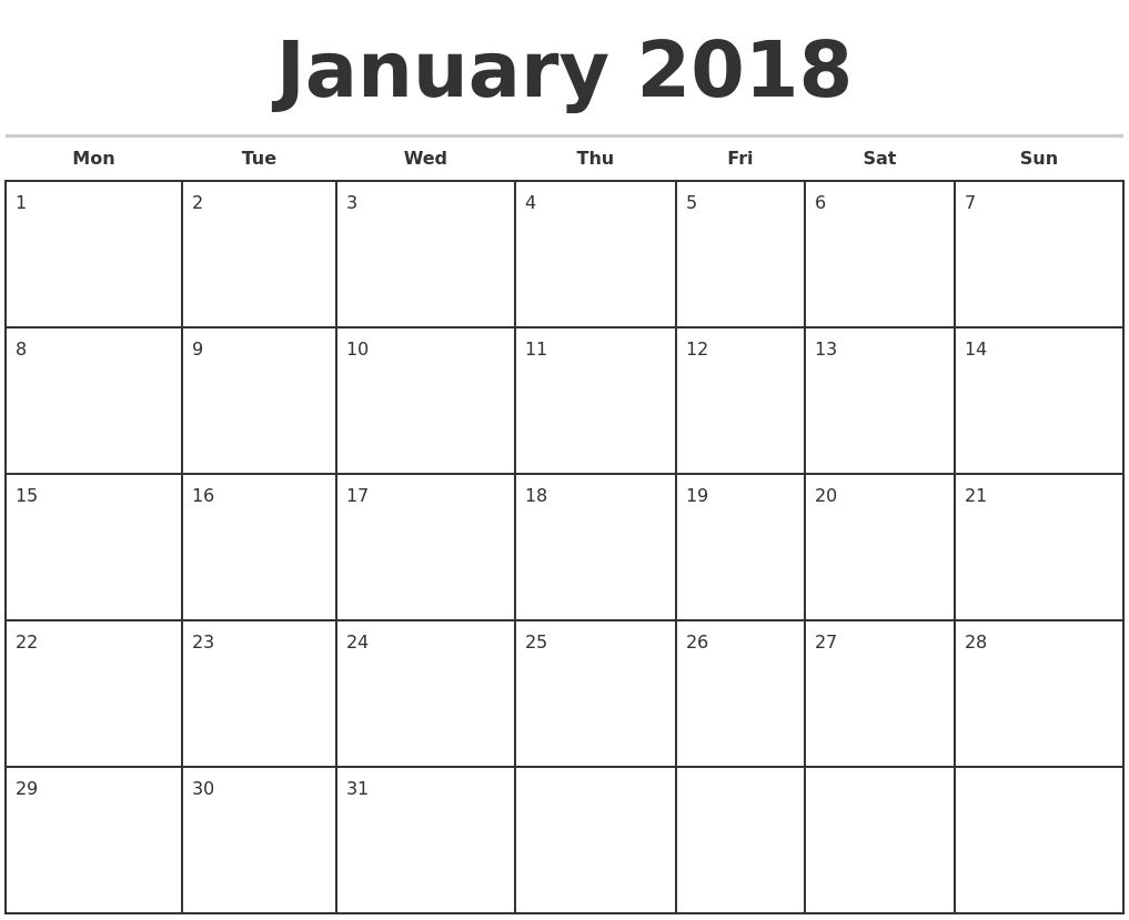 """Monthly Calendar Jan : Search results for """"january printable calendar"""