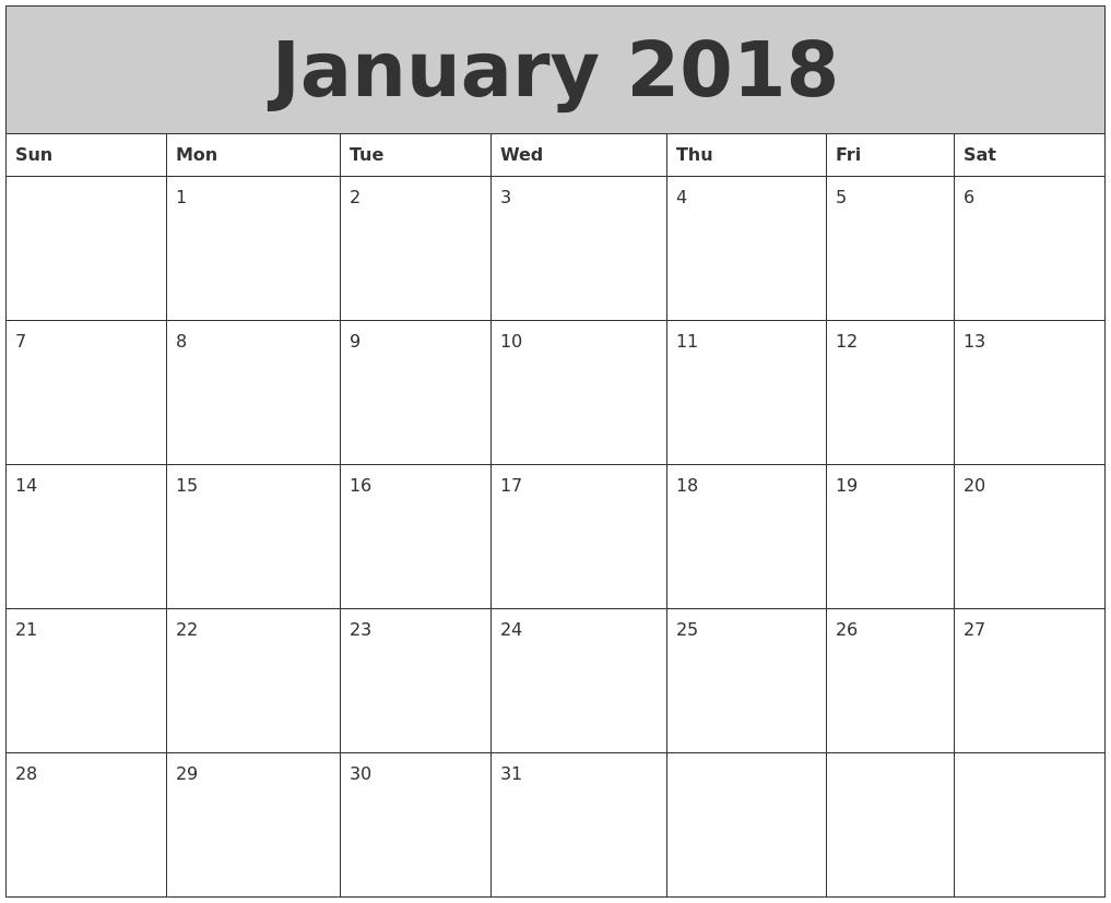 January 2018 My Calendar