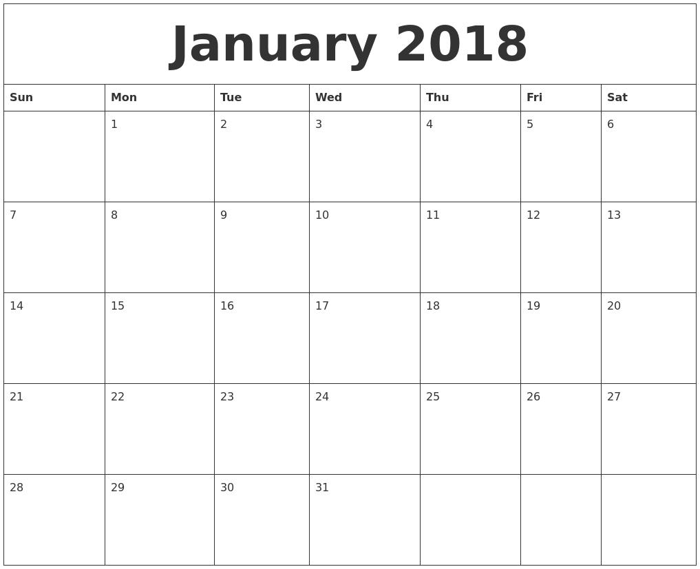 January 2018 Print Out Calendar