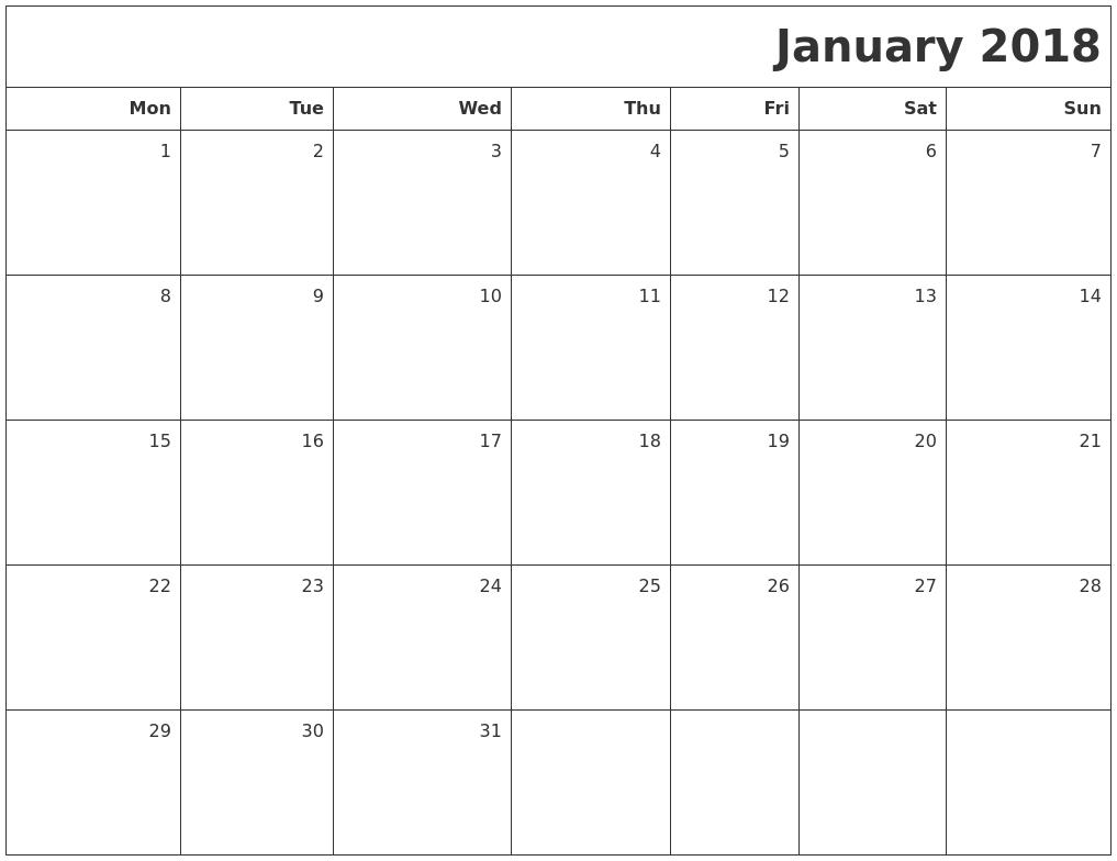 january blank calendar 2018