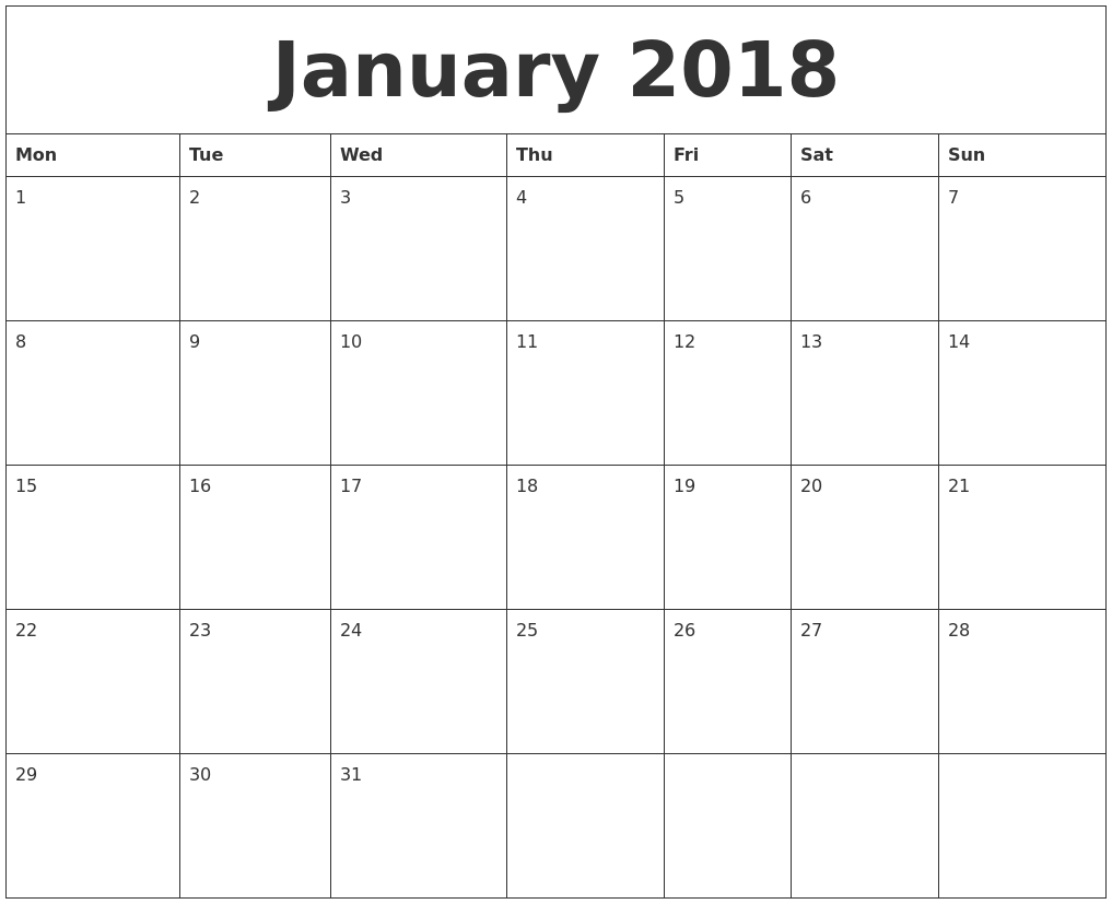 January 2018 Printable Calanders PDF's