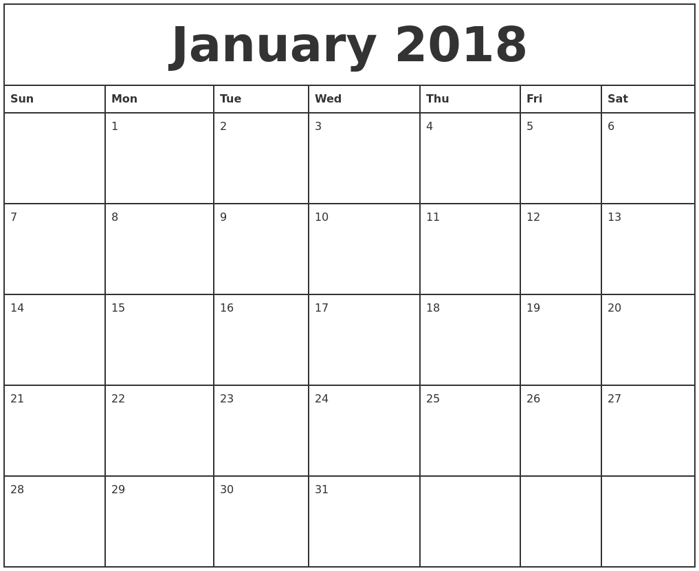January 2018 Printable Monthly Calendar