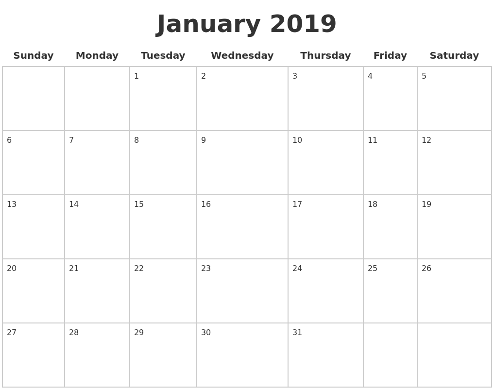 January 2019 Blank Calendar Pages
