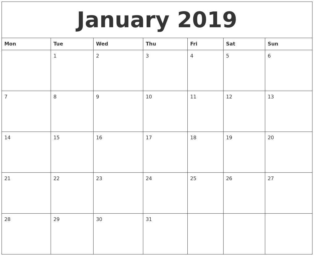 January 2019 Blank Monthly Calendar Template