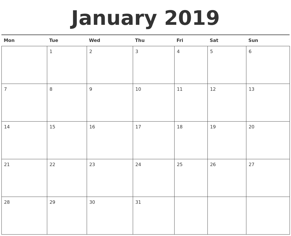 January 2019 Calendar Printable PDF's
