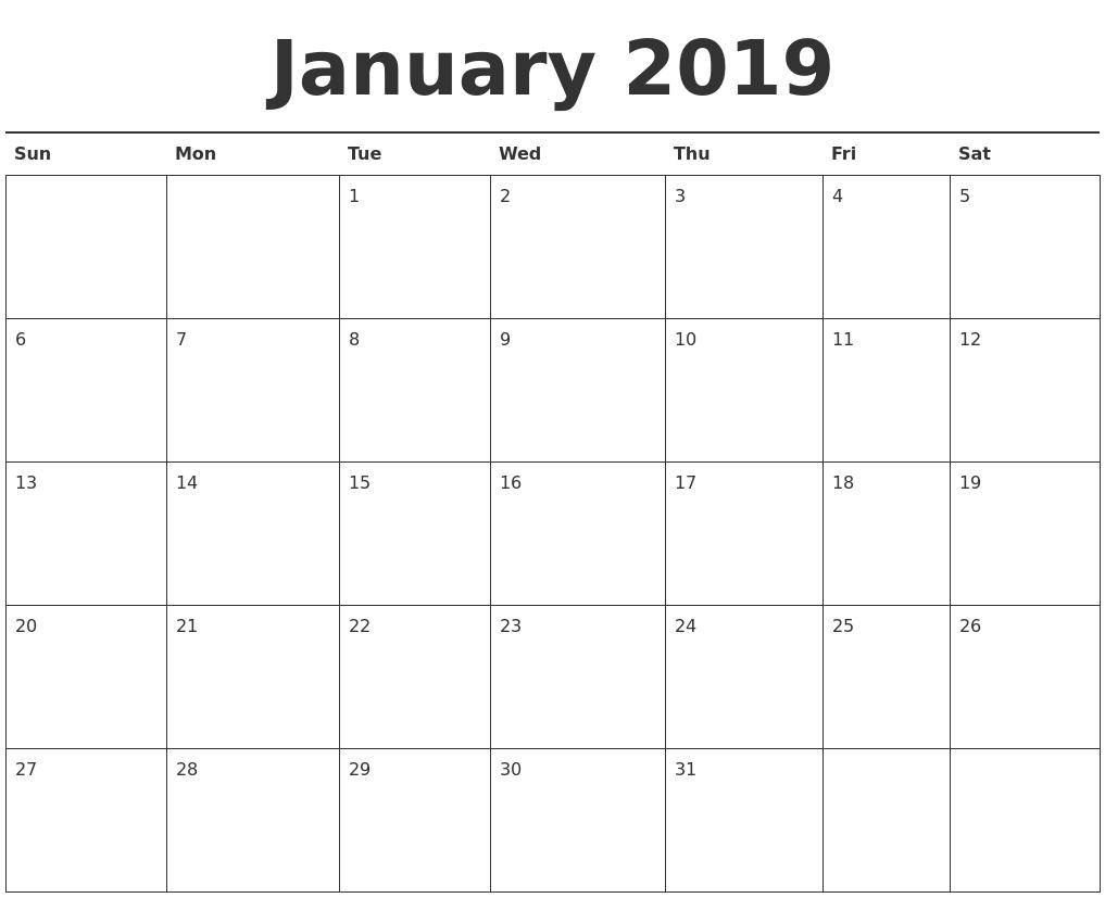 December 2018 Blank Calendar Template