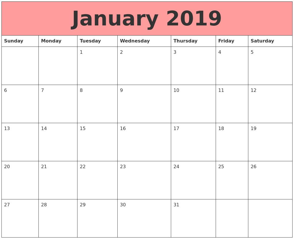 jan 2019 calender