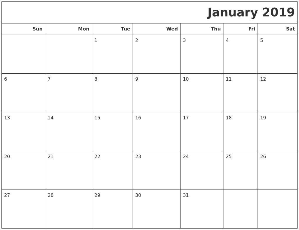 january 2018 calendar monday sunday