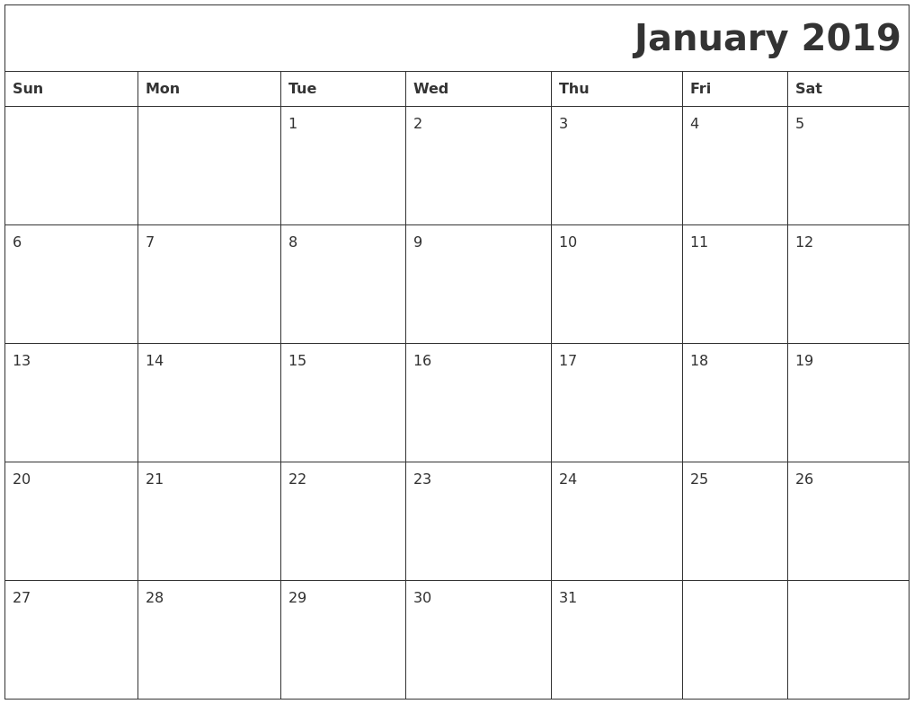 January 2019 Download Calendar