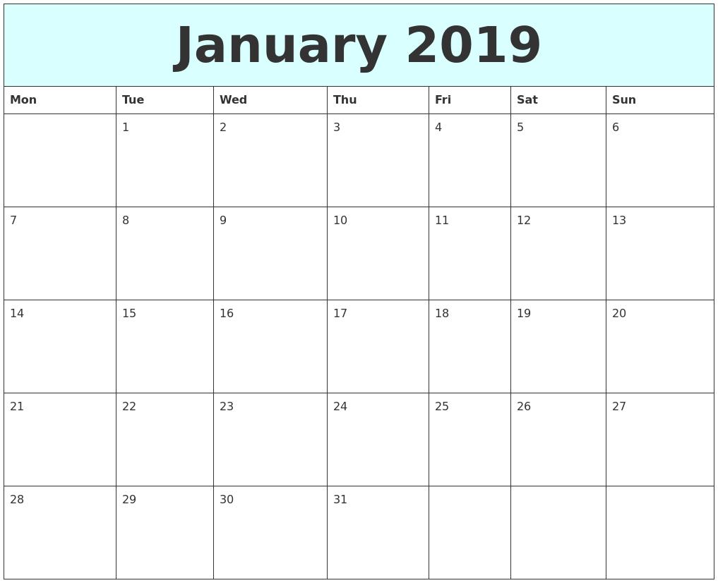 January 2019 Free Calendar PDF's