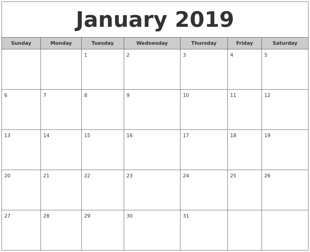 Monthly Calendar Report : January free monthly calendar
