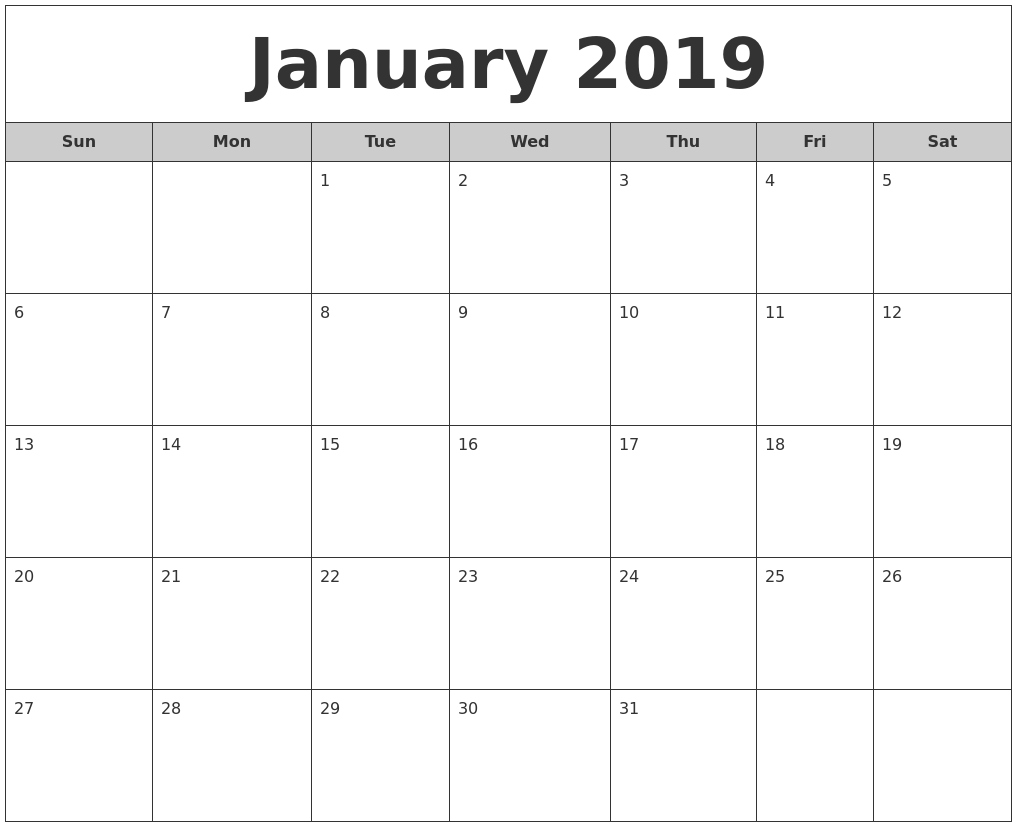 January 2019 Free Monthly Calendar
