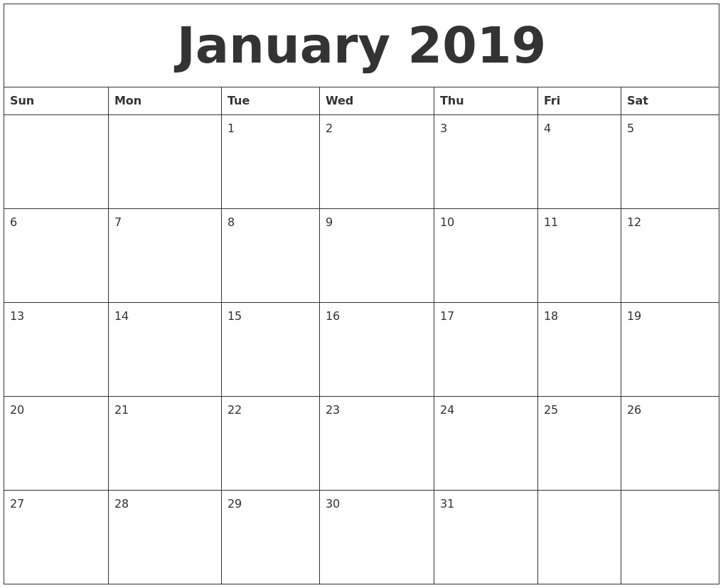 January 2019 Free Printable Monthly Calendar