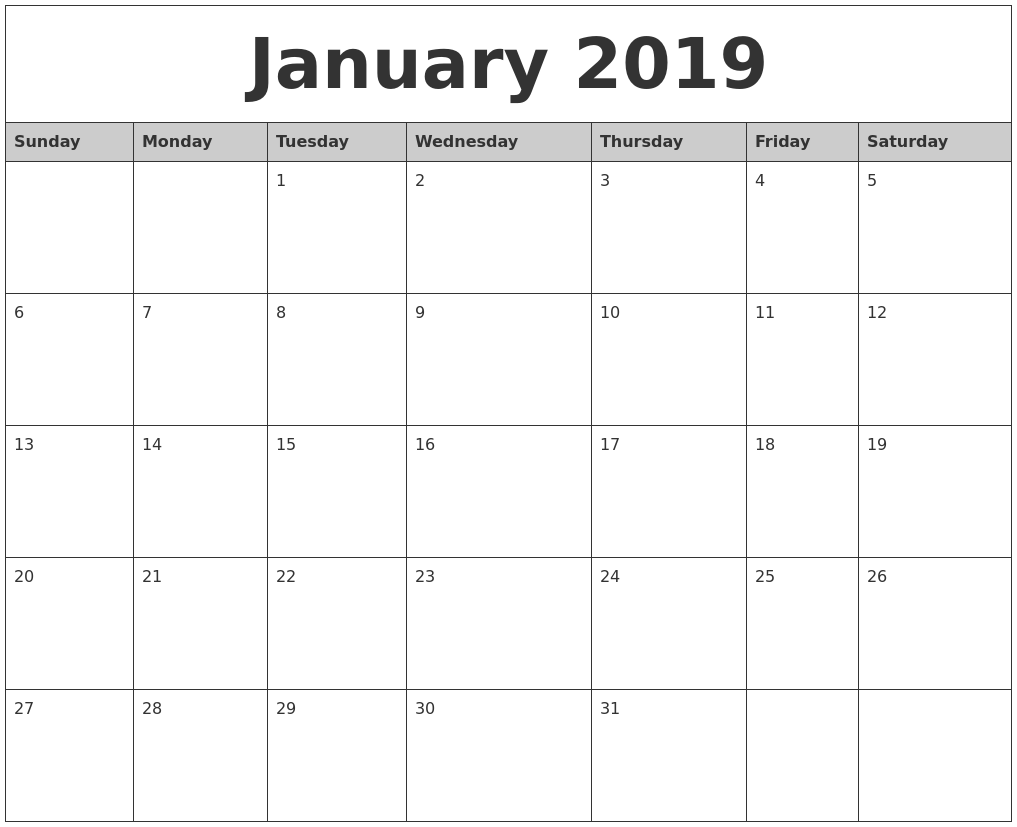 january 2019 monthly calendar printable