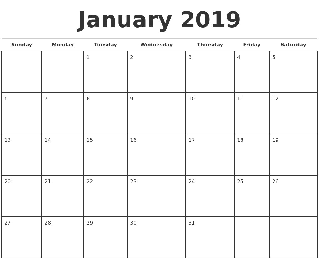 January 2019 Monthly Calendar Template PDF's