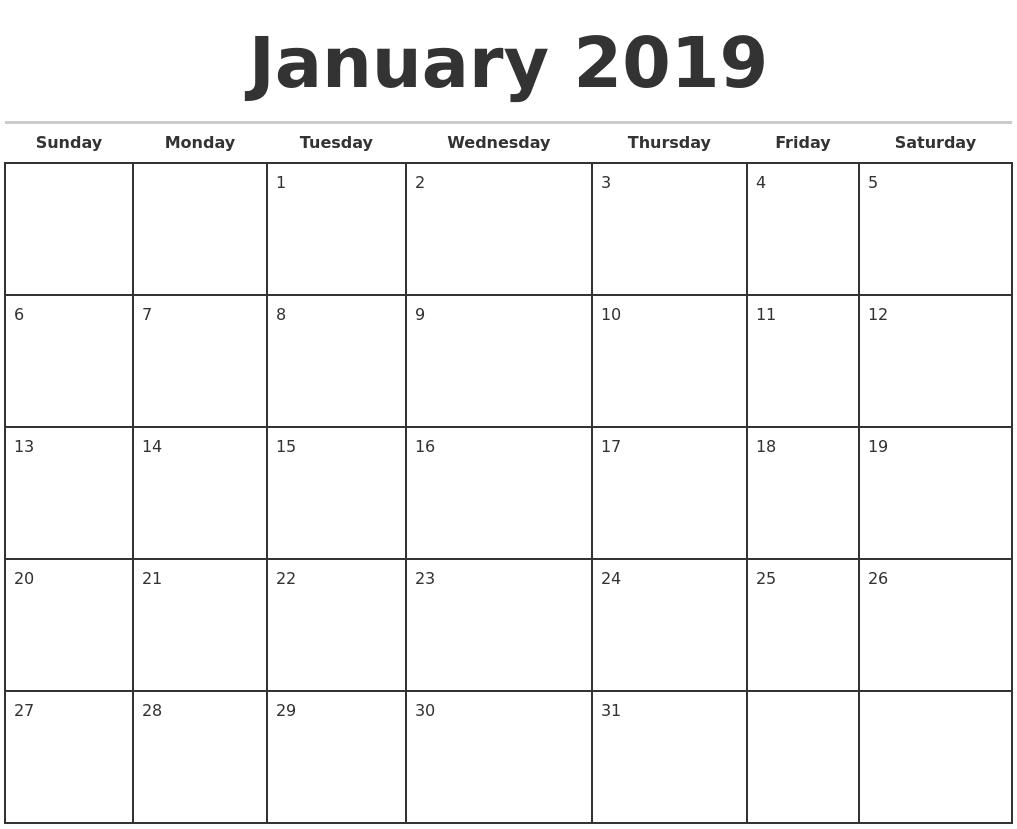 2019 monthly calendar template january 2019 monthly calendar template saigontimesfo