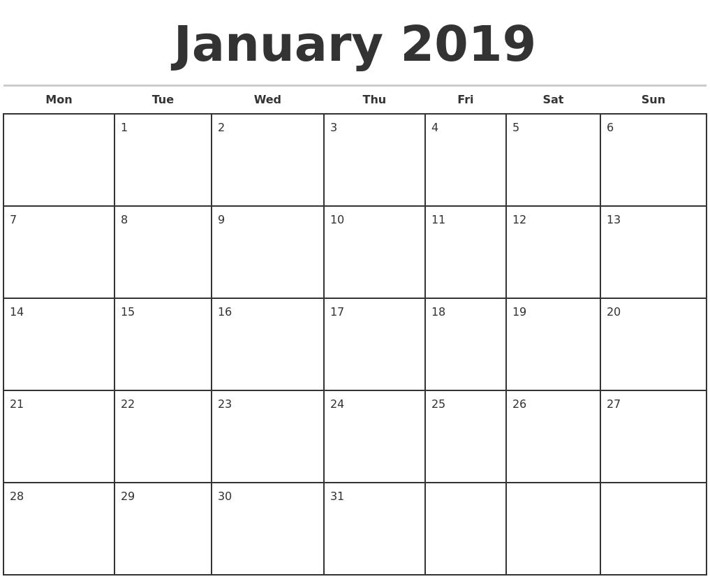 Monthly Calendar Jan : January monthly calendar template