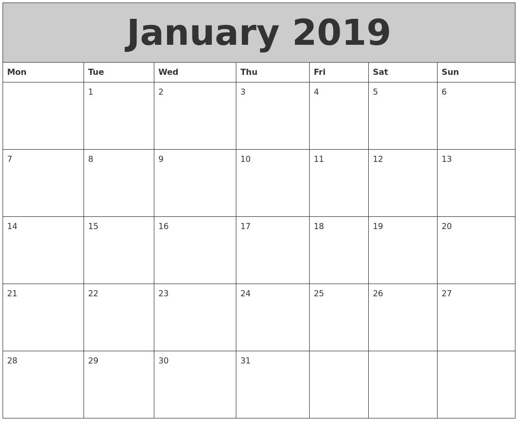 january 2019 my calendar