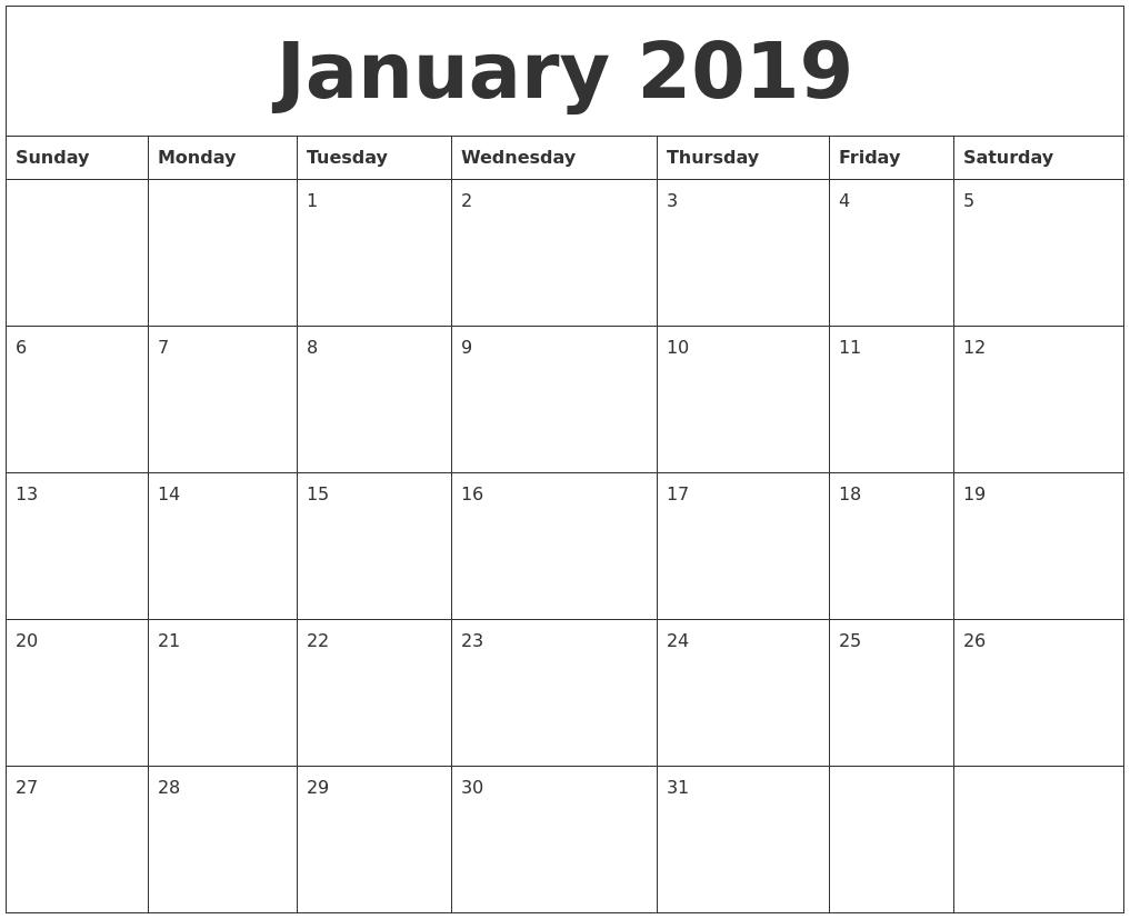 January 2019 Online Printable Calendar PDF's