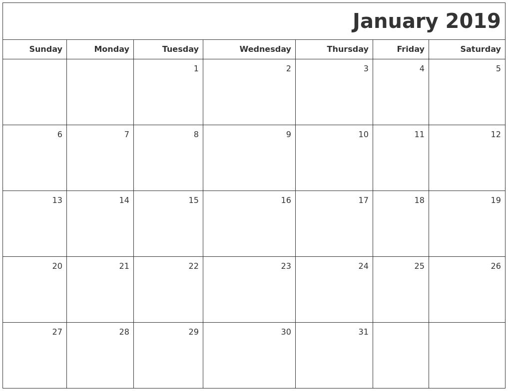 Blank Calendar 2018 January