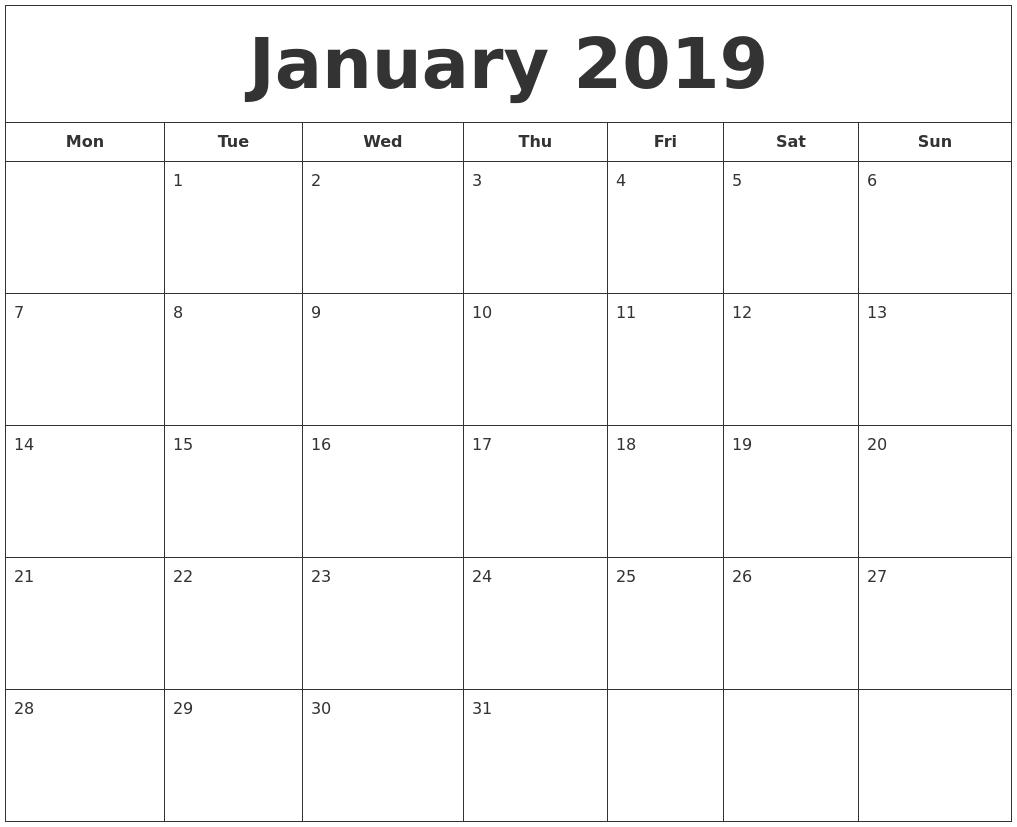 January Calendar 2009 : January printable calendar