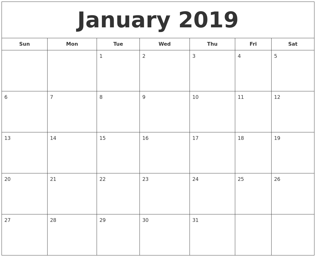 January Calendar 2019 Printable : March monthly calendar