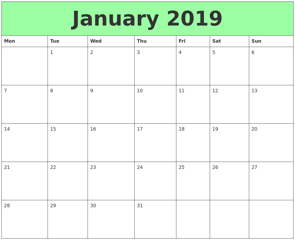 January 2019 Printable Calendars PDF's