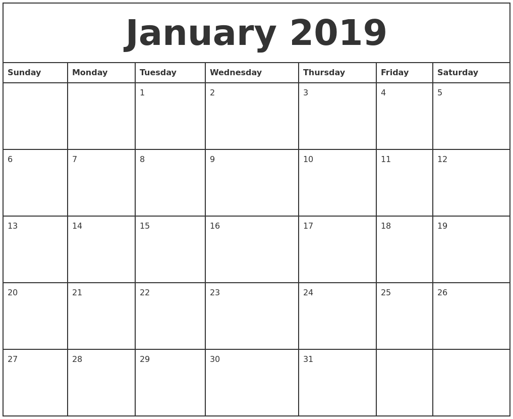 January 2019 Printable Monthly Calendar PDF's
