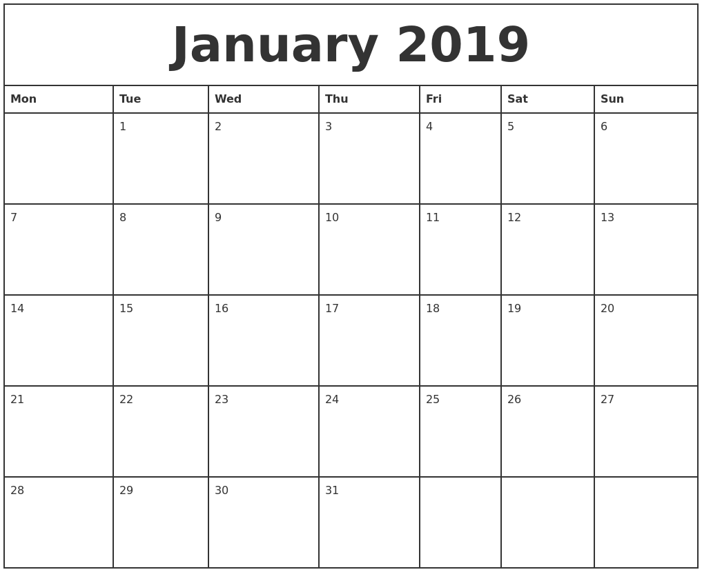 January 2019 Printable Monthly Calendar