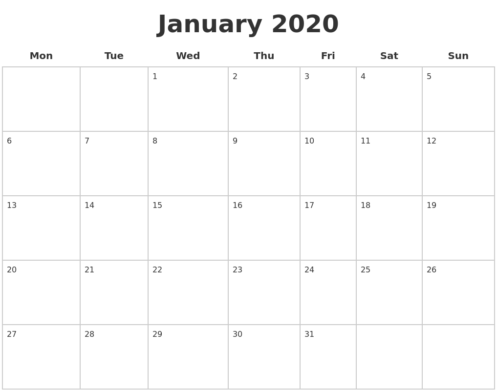 January 2020 Blank Calendar Pages