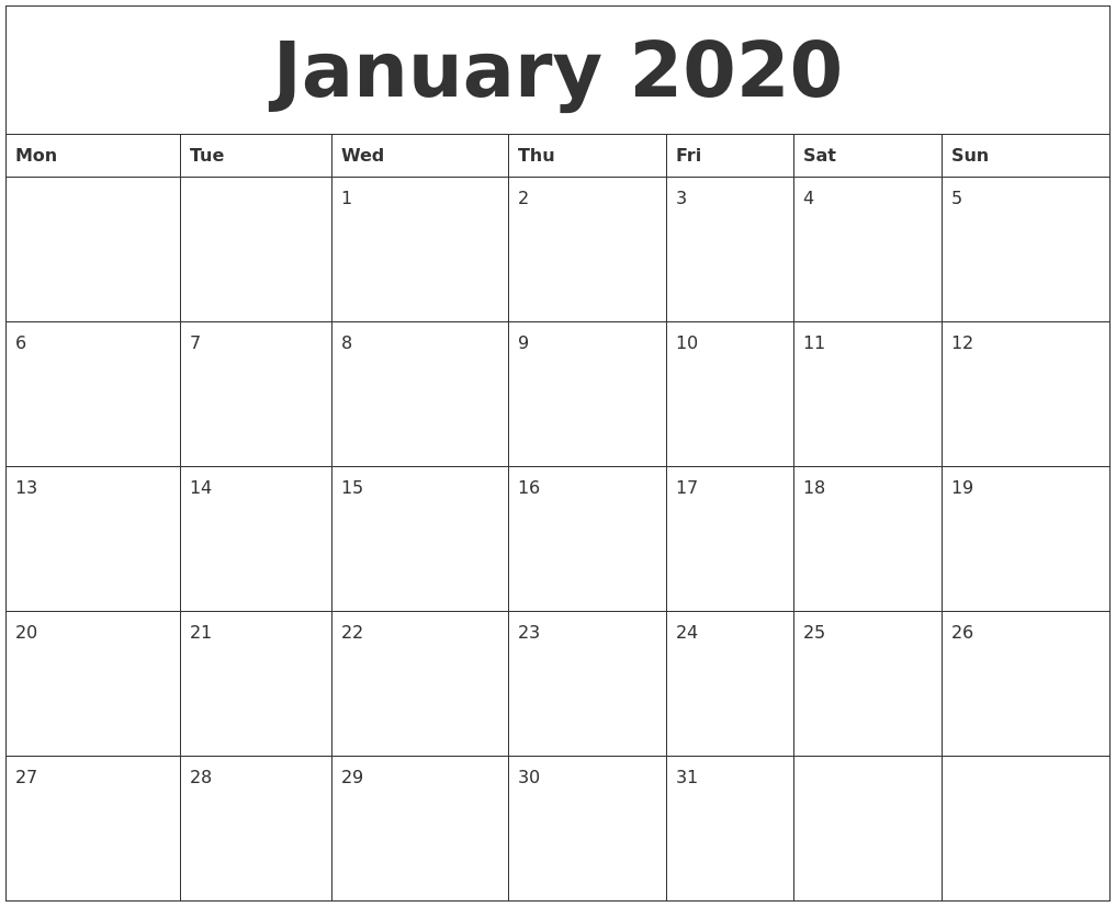 January 2020 Blank Monthly Calendar Template