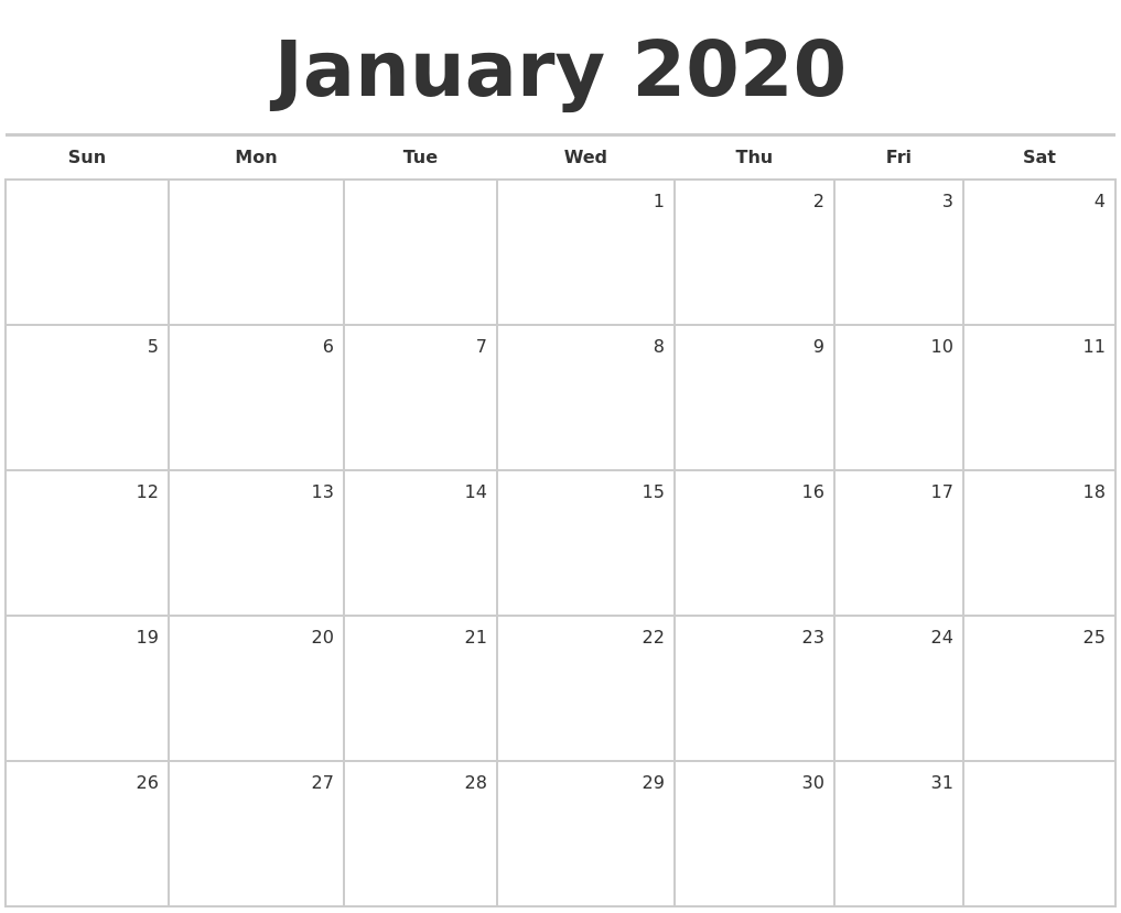 January 2020 Blank Monthly Calendar