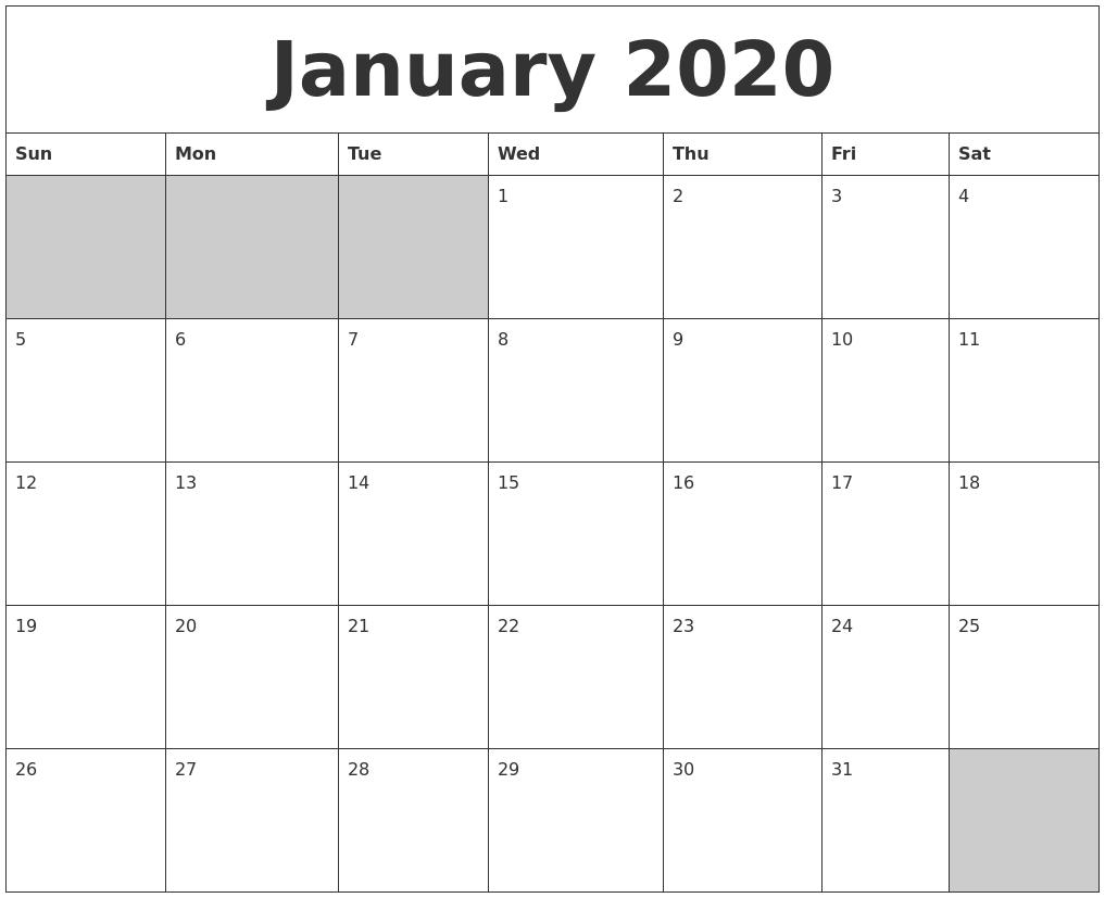 January Printable Calendar 2020.January 2020 Blank Printable Calendar