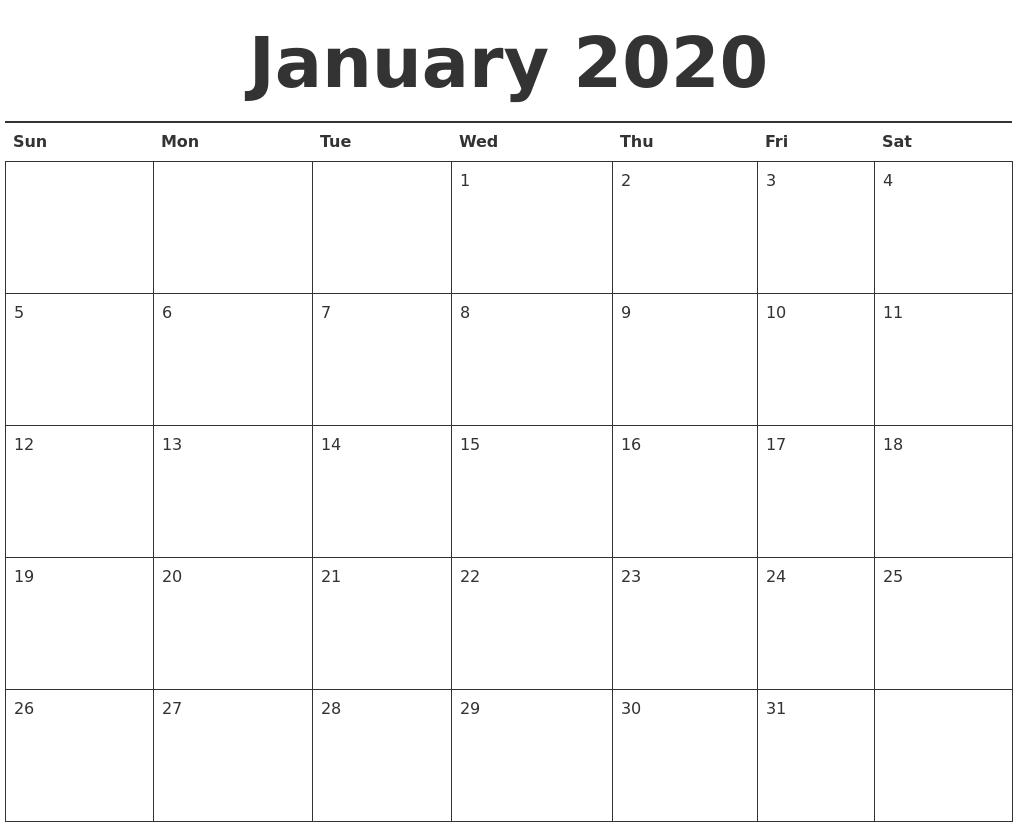 picture about 2020 Calendar Printable referred to as January 2020 Calendar Printable