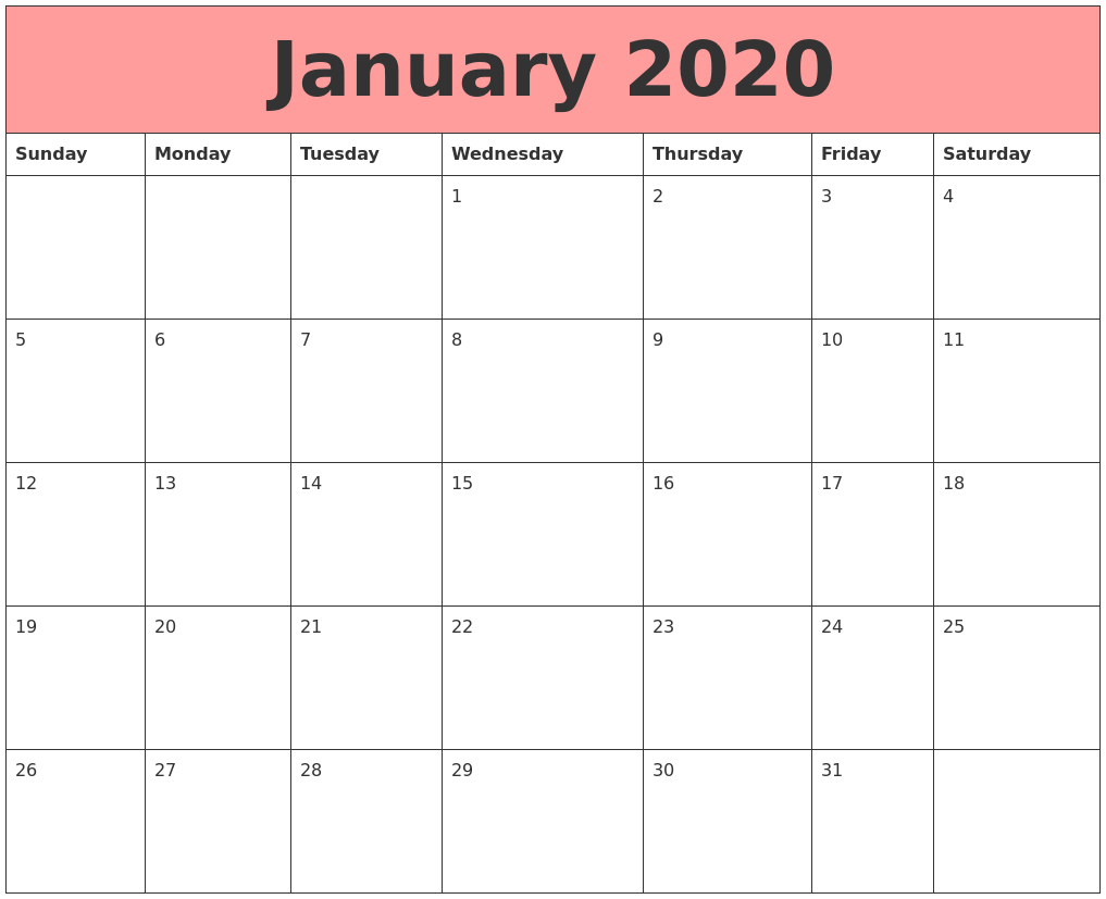 January 2020 Calendars That Work