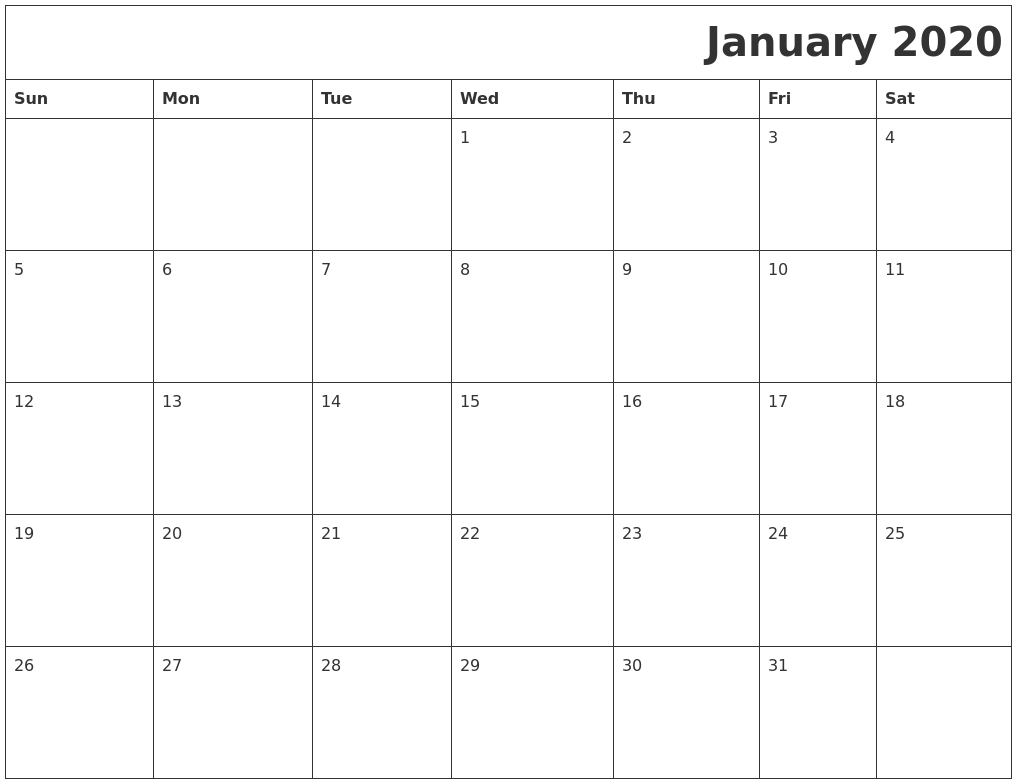 January 2020 Download Calendar