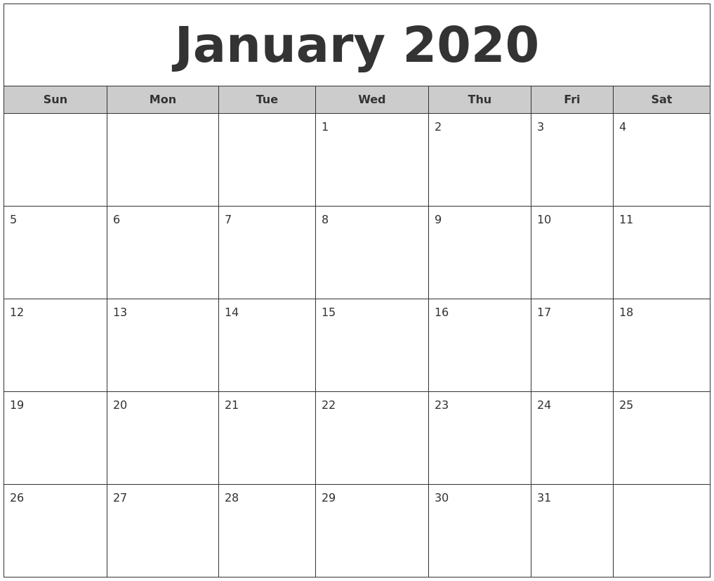 January 2020 Free Monthly Calendar