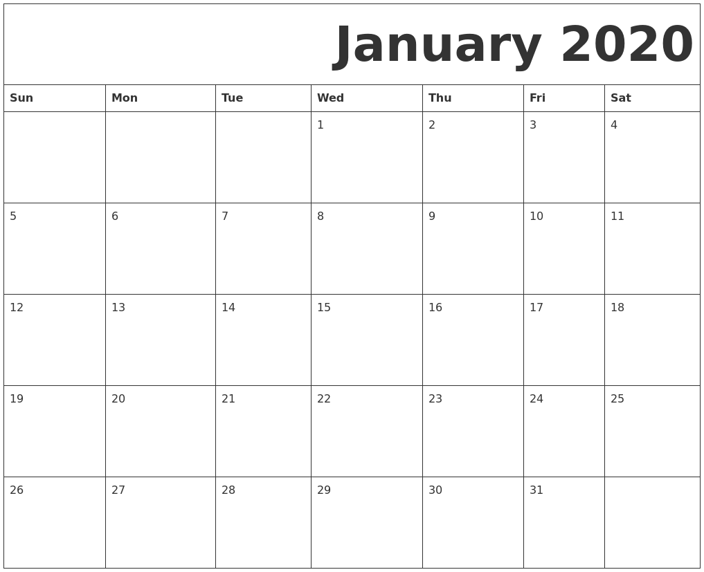 photo relating to Free Printable 2020 Calendar identified as January 2020 Free of charge Printable Calendar