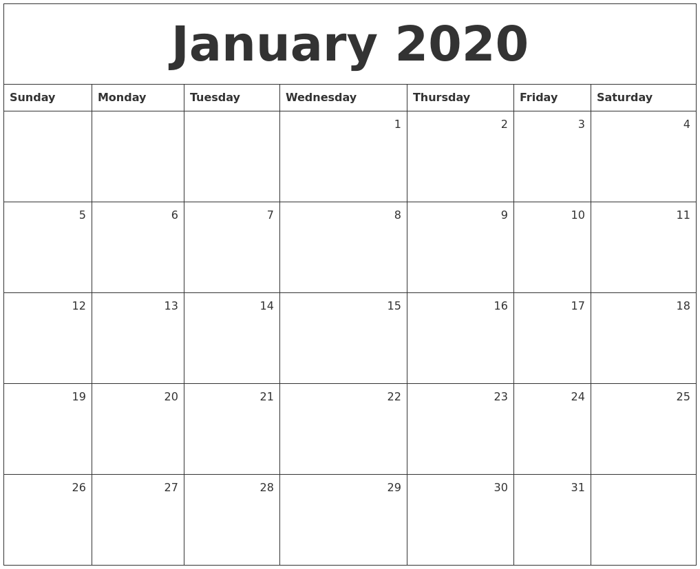 Free Printable Monthly Calendar 2020 Excel, PDF, Image [US ...  |Monthly Callender January 2020