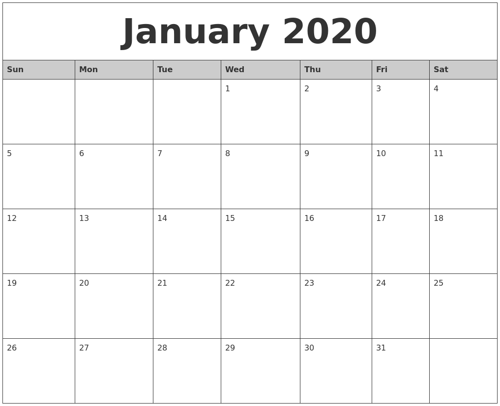January 2020 Monthly Calendar Printable