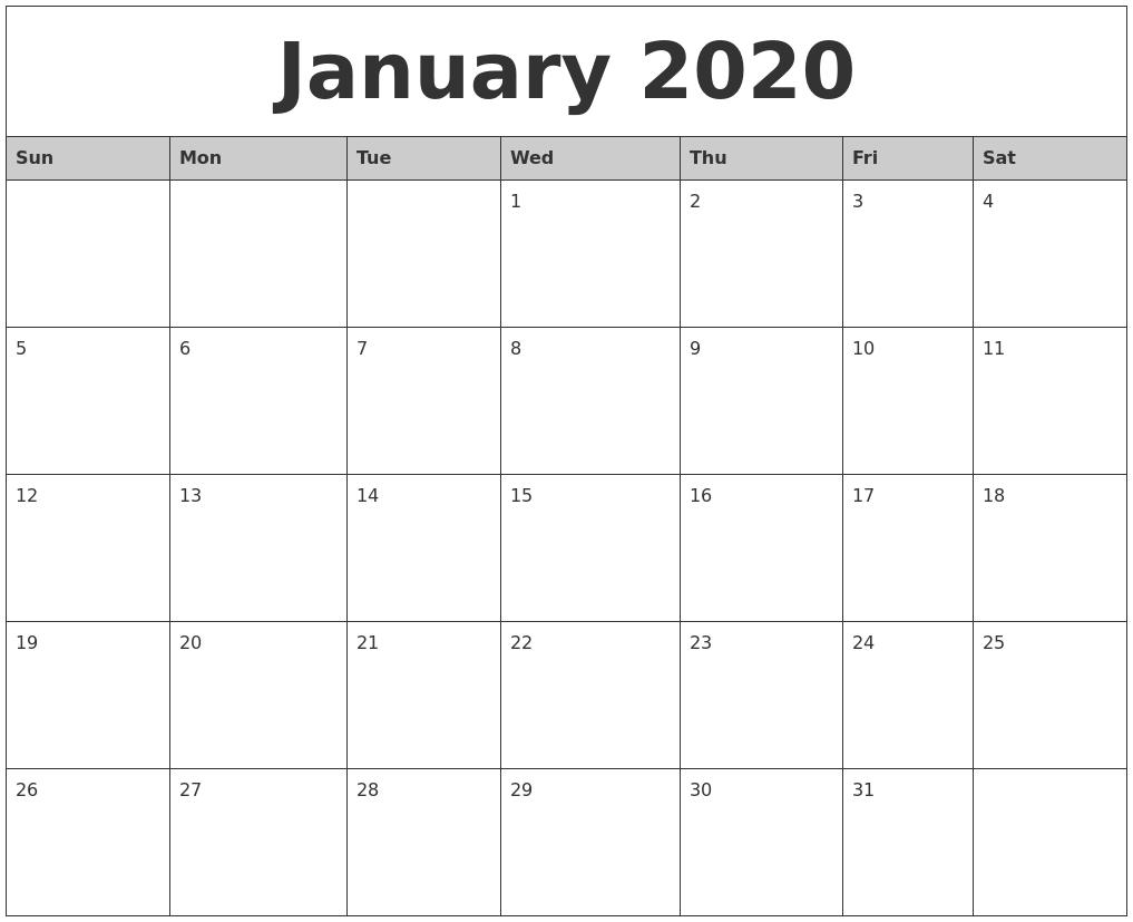 January 2020 Calendar Template.January Calendars