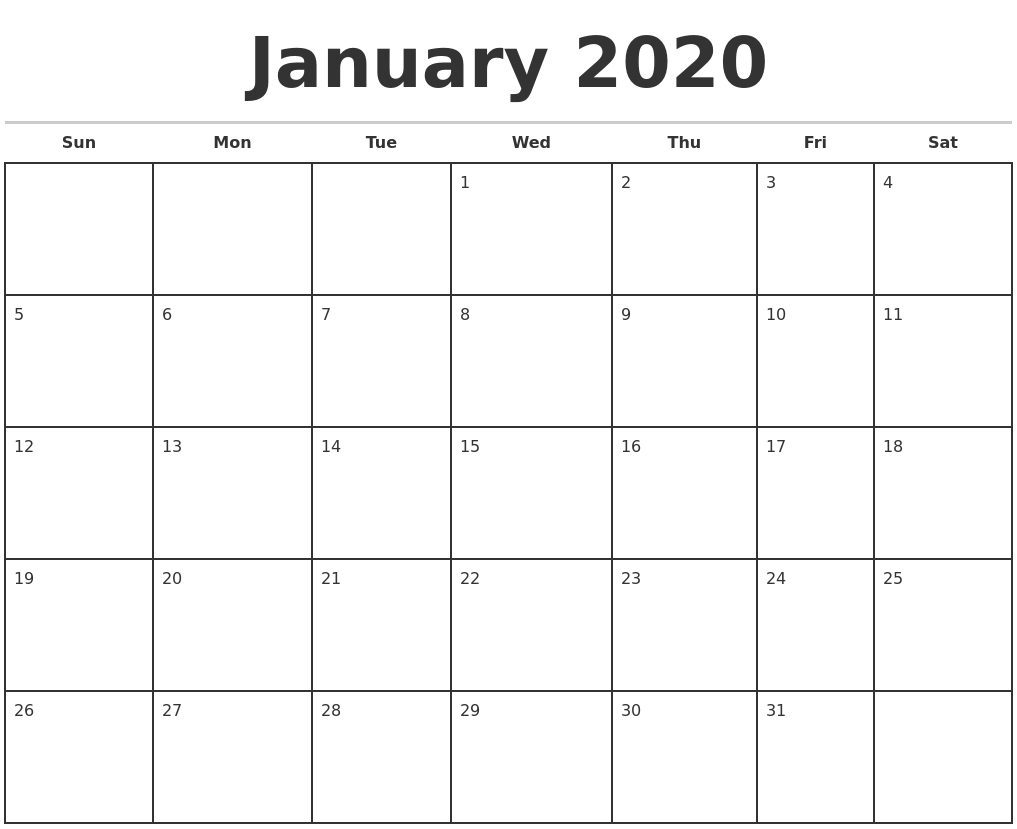june 2020 blank monthly calendar