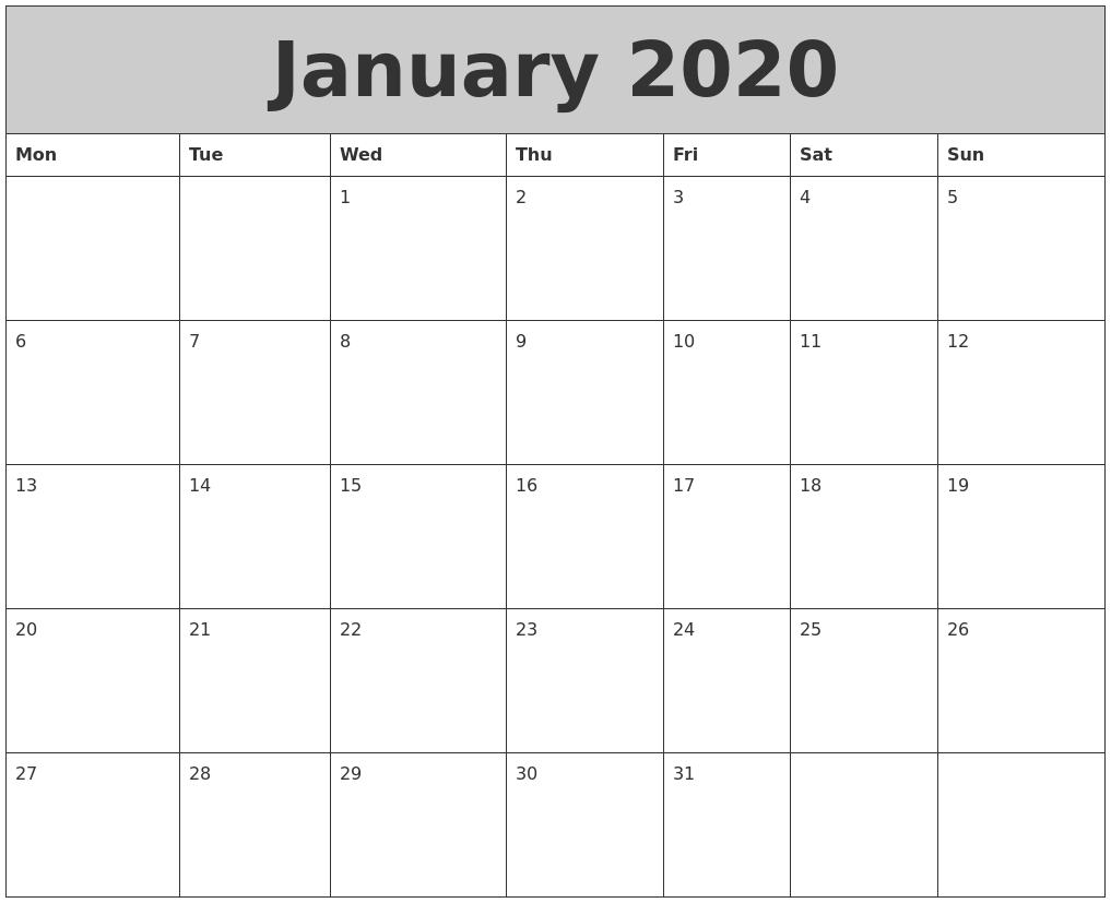 It's just a graphic of Divine Free Printable Calendars January 2020