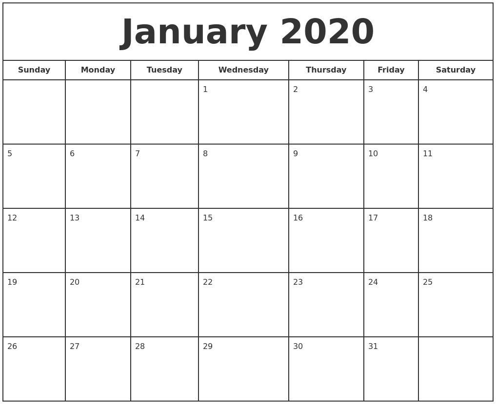 This is a graphic of Terrible Free Printable Calendars January 2020